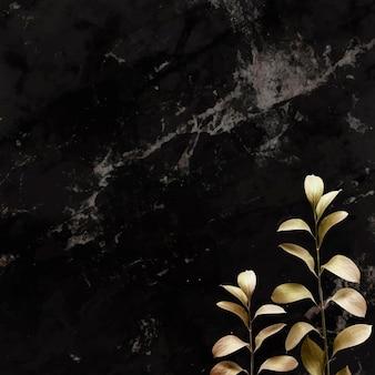 검은 배경 템플릿에 유칼립투스 패턴