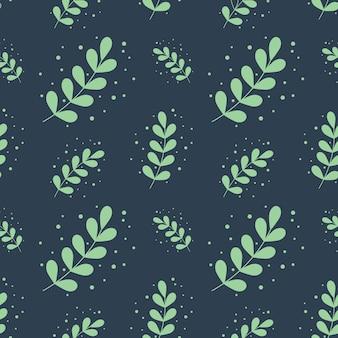 유칼립투스 실버 달러 잎 원활한 패턴 배경 벡터 일러스트 레이 션. 녹색 평면 스타일은 식물 그림을 남깁니다. 소셜 미디어 게시물, 연하장, 포스터, 현수막에 적합