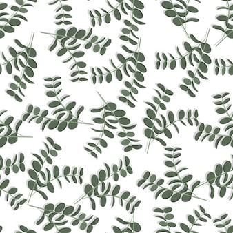 유칼립투스 나무, 단풍 자연 녹색 잎 열 대 원활한 벡터 패턴입니다.