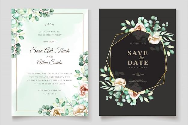 Eucalyptus wedding invitation card set