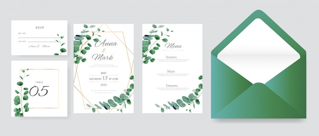 Eucalyptus wedding invitation cards template with watercolor herbs leaves decorative premium