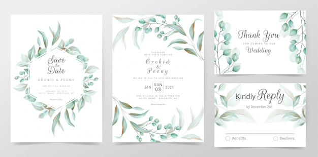 Eucalyptus wedding invitation cards template with watercolor herbs leaves decorative
