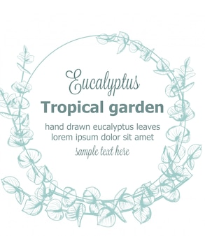 Eucalyptus wreath vintage line art floral decor frame background template