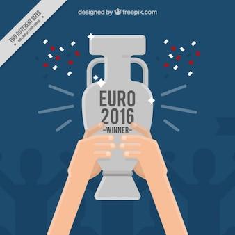 Евро 2016 фон победителя с серебряным трофеем