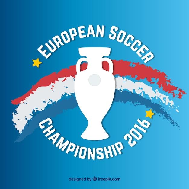Euro 2016 con dipinto a mano bandiera francia e lo sfondo trofeo