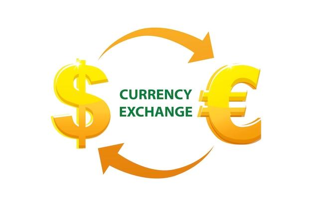 Обмен валюты и знаки евро и доллара. золотые деньги или символы валюты.