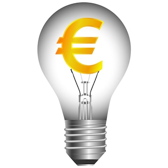 Euro bulb on a white background . vector illustration