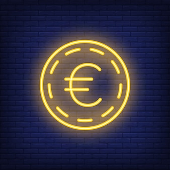 Euro coin on brick background. neon style illustration. money, cash, exchange rate.