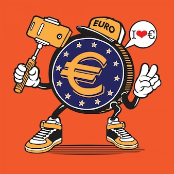 Euro coin money selfie character