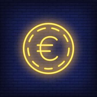 Монета евро на фоне кирпича. неоновый стиль иллюстрации. деньги, наличные деньги, обменный курс.