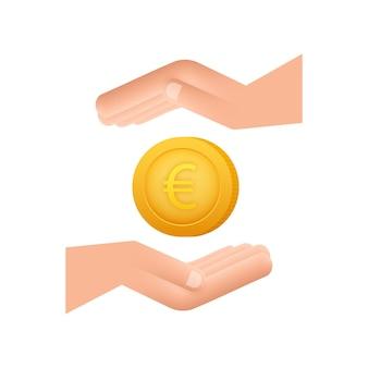 手でユーロ硬貨、あらゆる目的のための素晴らしいデザイン。フラットスタイルのベクトル図です。通貨アイコン。
