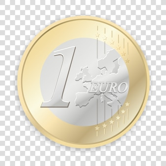 Euro coins isolated on transparent background