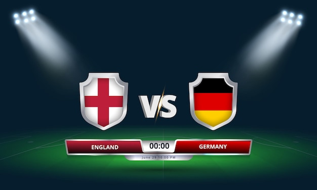 Euro cup round of 16 england vs germany football match scoreboard broadcast
