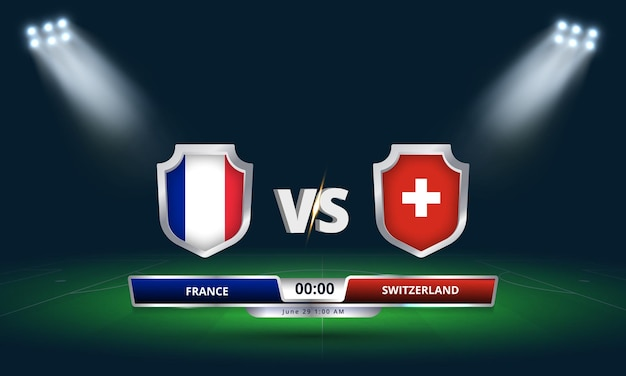 Euro cup round of 16 france vs switzerland football match scoreboard broadcast