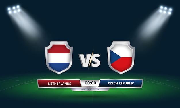 Euro cup round of 16 netherlands vs czech republic football match scoreboard broadcast Premium Vector
