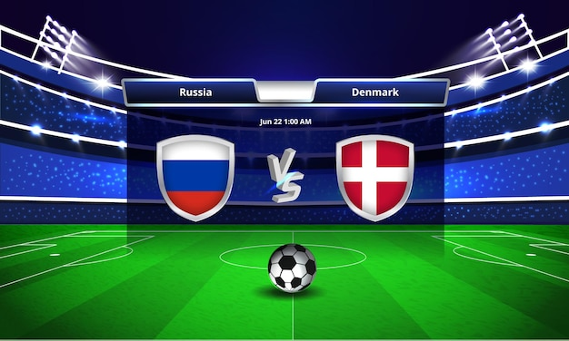 Euro cup russia vs denmark football match scoreboard broadcast