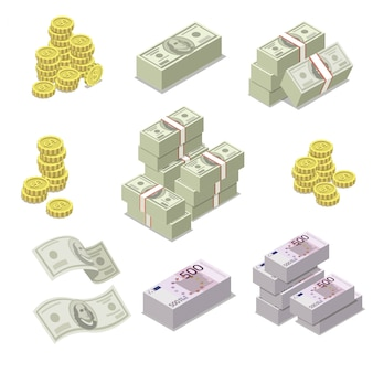 Euro and dollar currency isometric icons