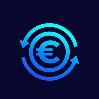 유로 교환, 돈과 금융 벡터 아이콘