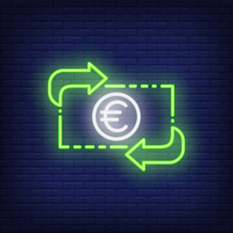 Euro exchange rate. Neon style illustration. Convert, income, transfer. Currency banner.