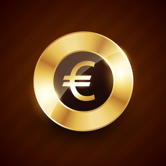 Euro golden coin  with shiny effects