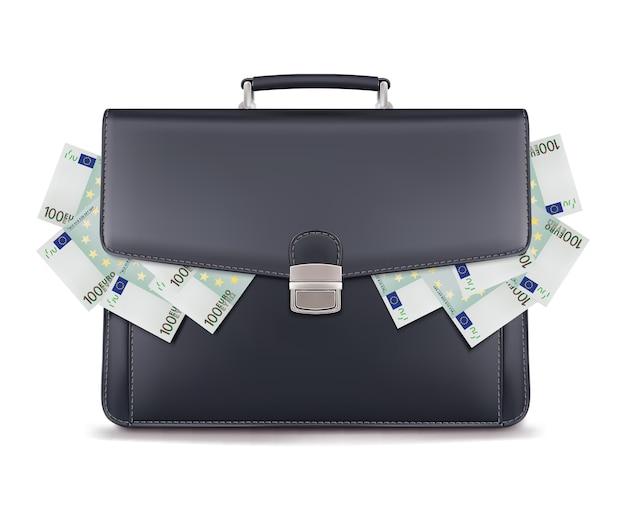 Евро груды внутри портфеля, изолированные на белом фоне