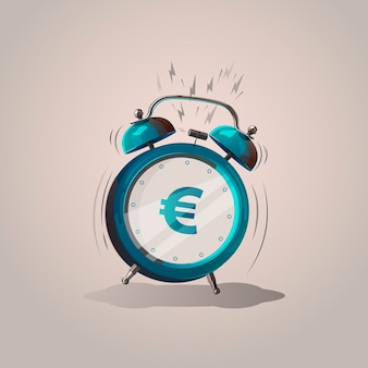 Euro sign cartoon alarm clock. vector illustration. isolated object.