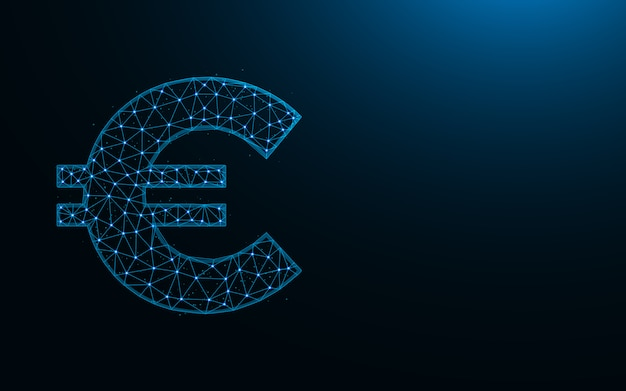 Euro symbol low poly design, currency in polygonal style