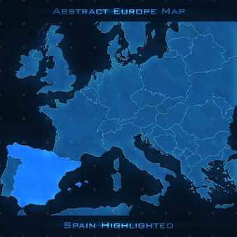 ヨーロッパ抽象地図。スペインは強調した。ベクトル背景。未来的なスタイルマップ。ビジネスプレゼンテーションのためのエレガントな背景。線、点、平面の3d空間。 eps 10