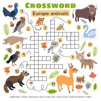 유럽 동물 크로스 워드 퍼즐. 미취학 아동 활동 워크시트용.