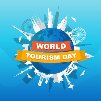 Европа азия город путешествия отдых всемирный день туризма иллюстрация
