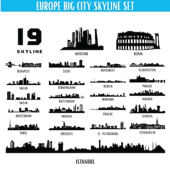Europe big city skyline silhouette set
