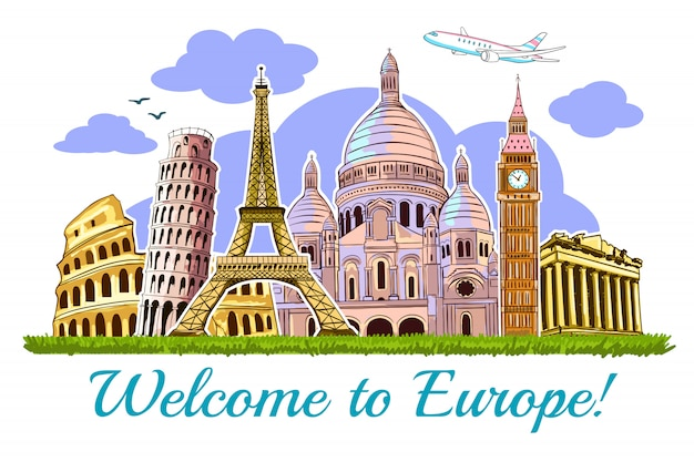 Europe buildings travel illustration card