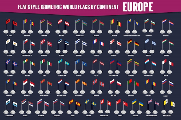 Europe country flat style isometric flags