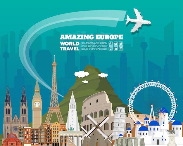 Europe famous landmark paper art