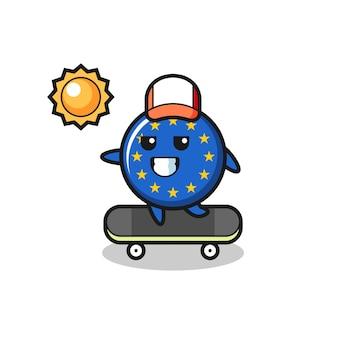 Europe flag badge character illustration ride a skateboard , cute style design for t shirt, sticker, logo element