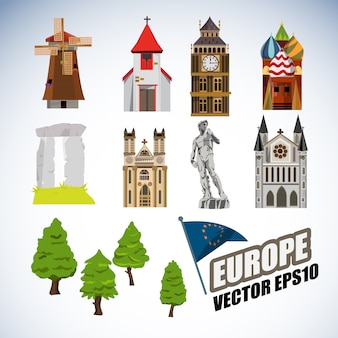 Europe landmarks collection.