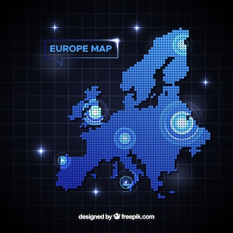 Europe map background with dots