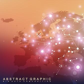 ヨーロッパの地図。化合物とのビッグデータ複合体。デジタルデータの視覚化。サイバネティック。