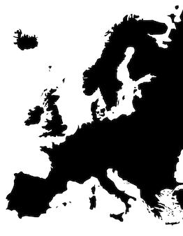 유럽 지도 흰색 배경에 고립입니다. 벡터 일러스트 레이 션.