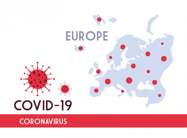 Europe map with the propagation of the covid 19