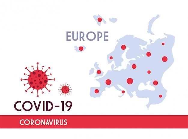 Covid 19の普及を伴うヨーロッパの地図