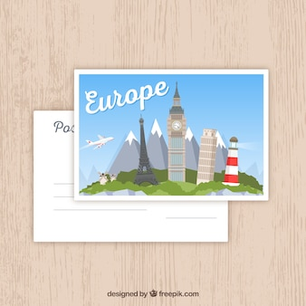 Europe postcard template with flat design