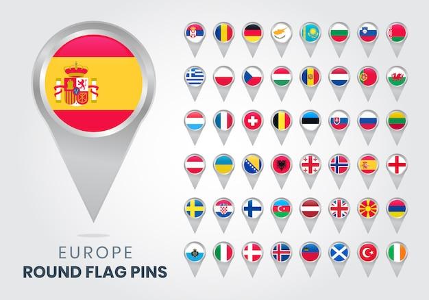 Europe round flag pins