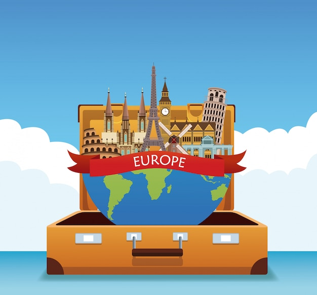 Europe travel concept cartoons vector
