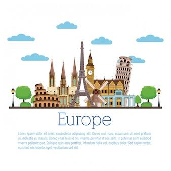 Europe travel infographic vector illustration graphic design Premium Vector