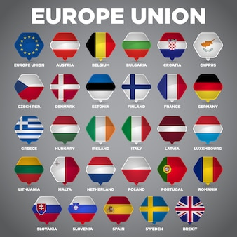Europe union flags