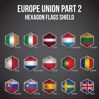 Europe union hexagon flags shield