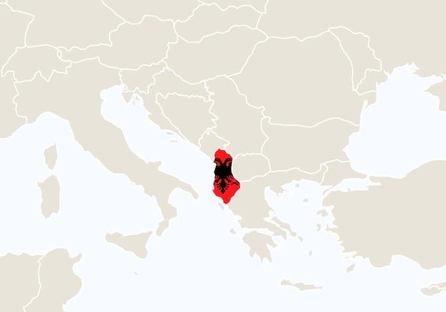 강조 표시된 알바니아 지도가 있는 유럽. 벡터 일러스트 레이 션.