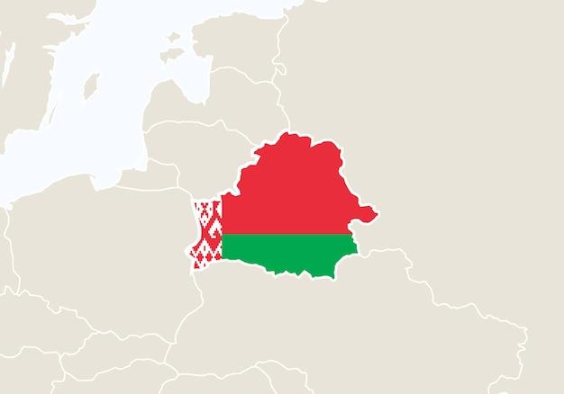 ベラルーシの地図が強調表示されたヨーロッパ。ベクトルイラスト。