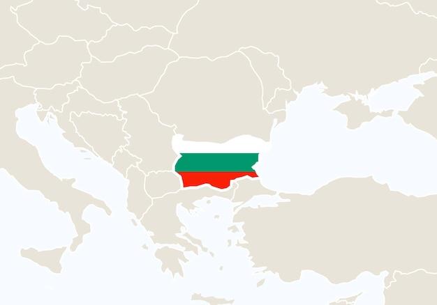 강조 표시 된 불가리아 지도와 유럽입니다. 벡터 일러스트 레이 션.